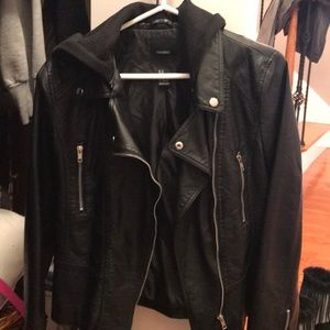 Forever 21 Faux Leather Jacket with Removable Hood